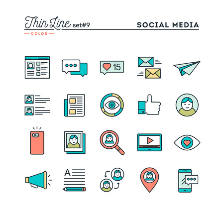 posting: Social media, communication, personal profile, online posting and more, thin line color icons set, vector illustration Illustration