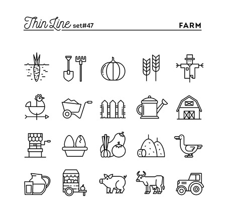Landbouwbedrijf, dieren, land, voedselproductie en nog veel meer, dunne lijn pictogrammen instellen, vector illustratie Stock Illustratie