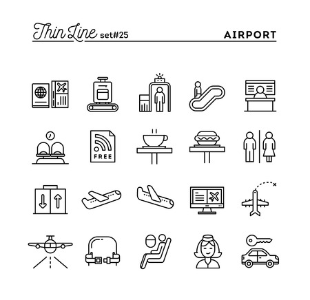 car rent: Airport, luggage scanning, flight, rent a car and more, thin line icons set, vector illustration