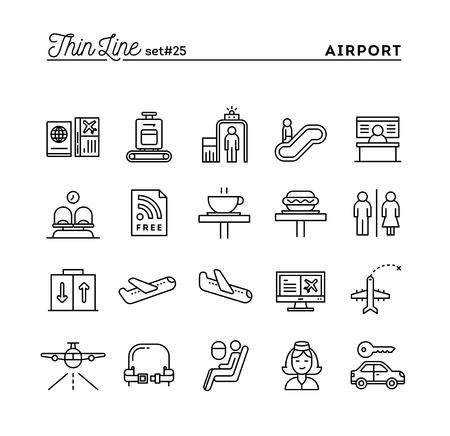 bagagli: L'aeroporto, la scansione dei bagagli, volo, noleggio auto e altro ancora, icone linea sottile set, illustrazione vettoriale