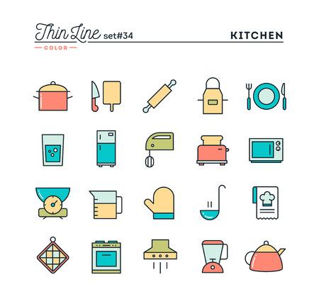 food preparation: Kitchen utensils, food preparation and more, thin line color icons set, vector illustration Illustration