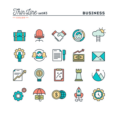 Business, entrepreneurship, teamwork, goals and more, thin line color icons set, vector illustration Ilustrace