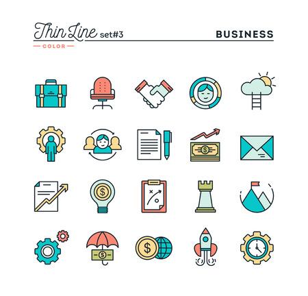 Zaken, ondernemerschap, teamwerk, doelen en meer, dunne lijn gekleurde pictogrammen instellen, vector illustratie
