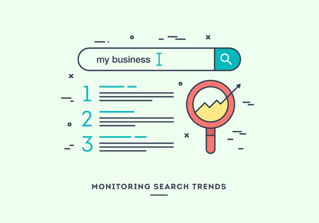 Monitoring search trends, digital marketing concept, flat design thin line banner. Иллюстрация