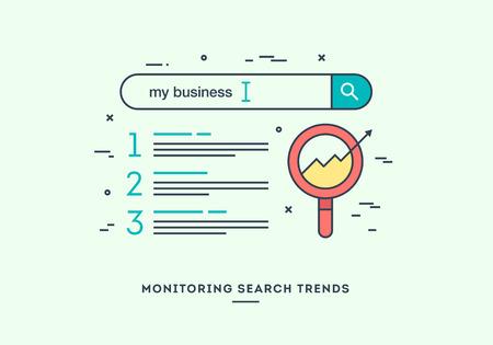 Surveillance des tendances de recherche, concept marketing numérique, design plat bannière mince ligne.
