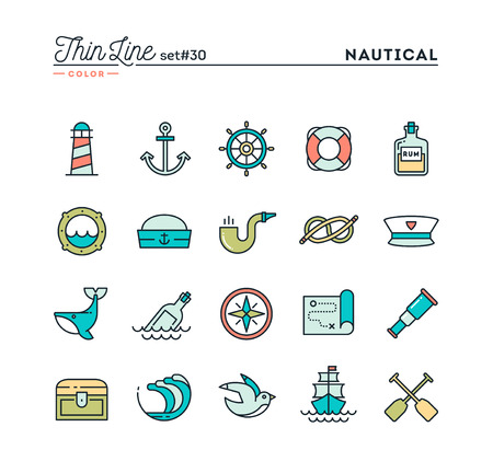Nautical, sailing, sea animals, marine and more, thin line color icons set, vector illustration