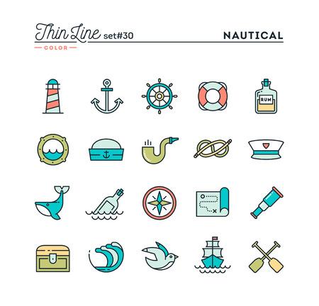 Zeevaart, het varen, zeedieren, marine en nog veel meer, dunne lijn kleur pictogrammen instellen, vector illustratie