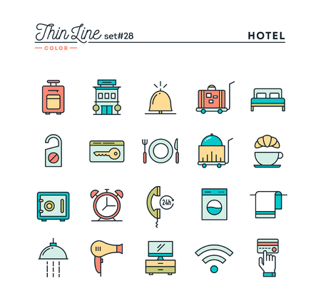 accommodation: Hotel, accommodation , room service, restaurant and more, thin line color icons set, vector illustration