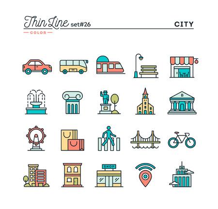 Stad, vervoer, cultuur, winkelen en meer, dunne geplaatste lijnpictogrammen, vectorillustratie Stock Illustratie