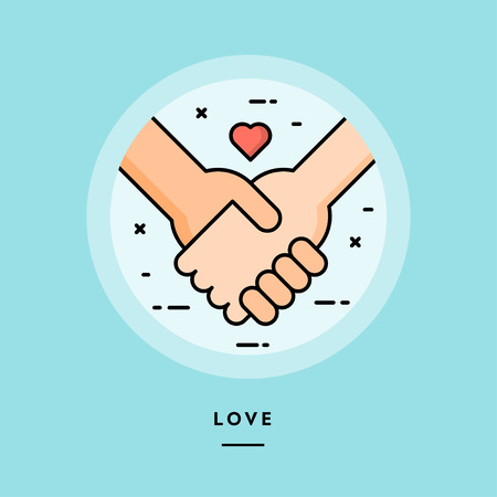 Couple holding hands, flat design thin line banner, usage for e-mail newsletters, web banners, headers, blog posts, print and more