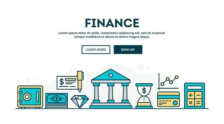 Finance, colorful concept header, flat design thin line style, vector illustration Ilustrace