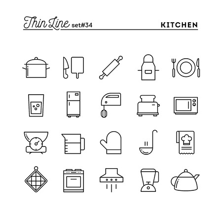 food preparation: Kitchen utensils, food preparation and more, thin line icons set, vector illustration