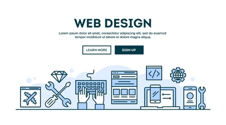 Web design, concept header, flat design thin line style, vector illustration Stock fotó - 61454163