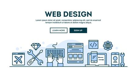 Web design, intestazione concetto, design piatto stile sottile linea, illustrazione vettoriale Archivio Fotografico - 61454163