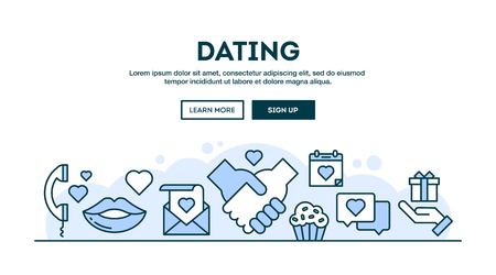 finding love: Dating, concept header, flat design thin line style, vector illustration