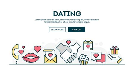 match: Dating, Valentines day, colorful concept header, flat design thin line style, vector illustration