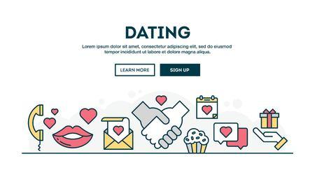 streichholz: Dating, Valentinstag, bunte Konzept Kopf, flaches Design dünne Linie Stil, Vektor-Illustration Illustration