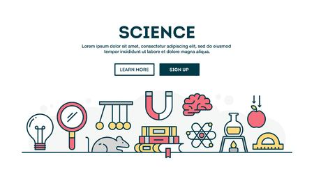 thin bulb: Science, colorful concept header, flat design thin line style, vector illustration