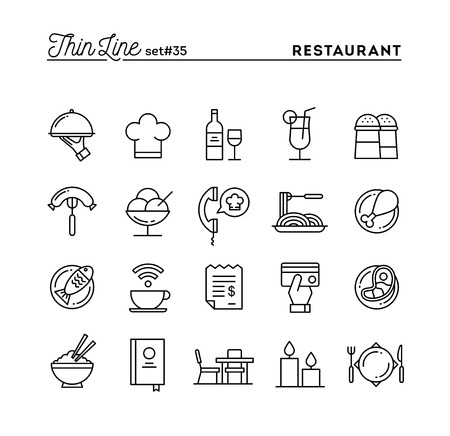 steak plate: Restaurant, phone ordering, meal, receipt and more, thin line icons set, vector illustration