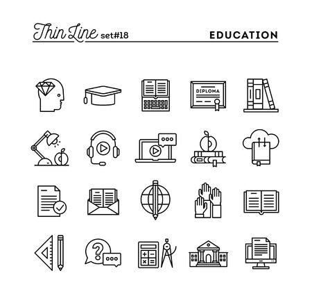 distance learning: Education, online books, distance learning, webinar and more, thin line icons set, vector illustration Illustration