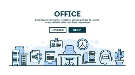 オフィス コンセプト ヘッダー、フラット デザイン細い線スタイル、ベクトル イラスト