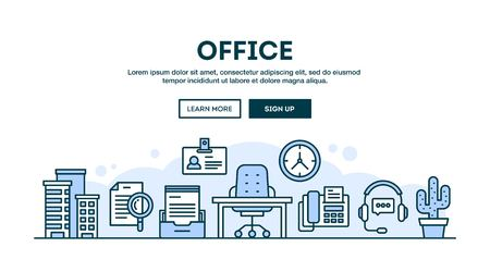 Office, concept header, flat design thin line style, vector illustration