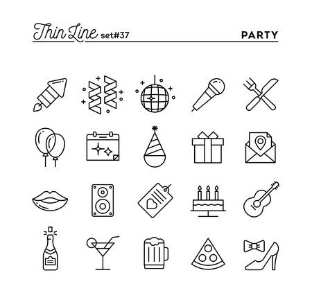 Partido, celebración, fuegos artificiales, confeti y más iconos, línea delgada conjunto, ilustración vectorial