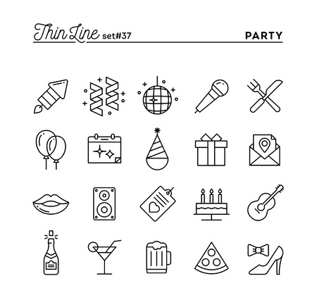 Party, celebration, fireworks, confetti and more, thin line icons set, vector illustration Stok Fotoğraf - 61454180