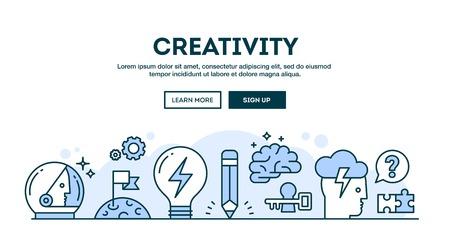 La creatividad, el concepto de cabecera, diseño plano estilo de línea delgada, ilustración vectorial