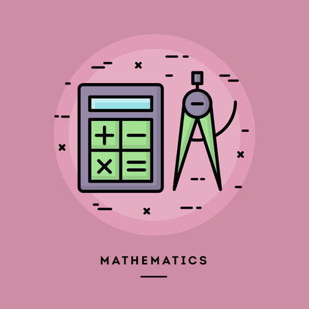 blog design: Mathematics, flat design thin line banner, usage for e-mail newsletters, web banners, headers, blog posts, print and more