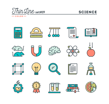 Science, experiments, laboratory, studies and more, thin line color icons set, vector illustration Vectores