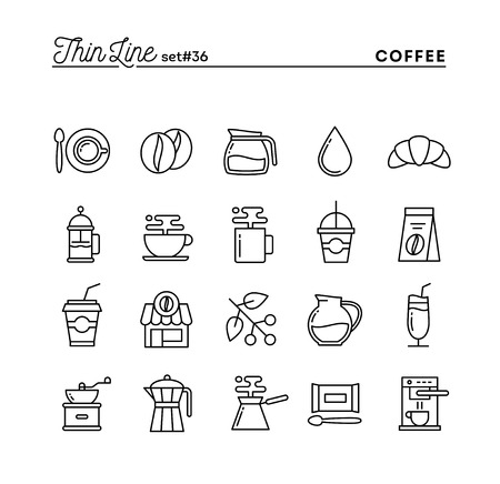 brewed: Coffee, thin line icons set, vector illustration