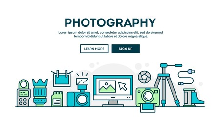 Photography equipment, colorful concept header, flat design thin line style, vector illustration