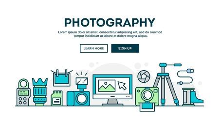 Strumentazione fotografica, intestazione concettuale colorato, disegno piatto stile sottile linea, illustrazione vettoriale