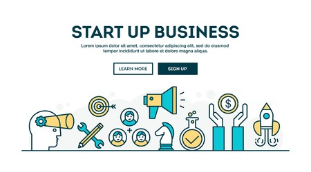 Start up business, colorful concept header, flat design thin line style, vector illustration
