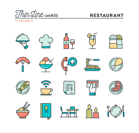 ordering: Restaurant, phone ordering, meal, receipt and more, thin line color icons set, vector illustration Illustration