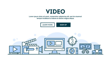 entertainment: Video making, concept header, flat design thin line style, vector illustration