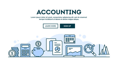 Accounting, concept header, flat design thin line style, vector illustration