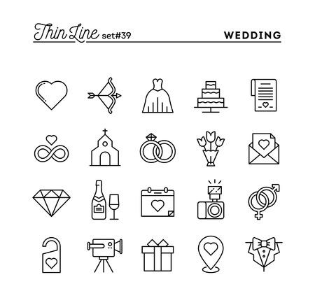 Boda, el vestido de novia, la invitación del acontecimiento, celebración del partido y más, la línea delgada conjunto de iconos, ilustración vectorial