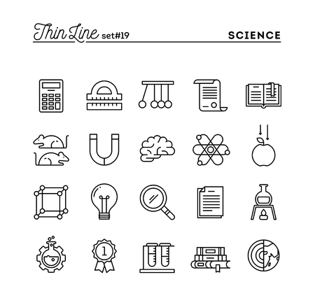 vector studies: Science, experiments, laboratory, studies and more, thin line icons set, vector illustration