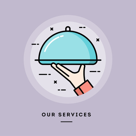 speciality: Our services, flat design thin line banner, usage for e-mail newsletters, web banners, headers, blog posts, print and more