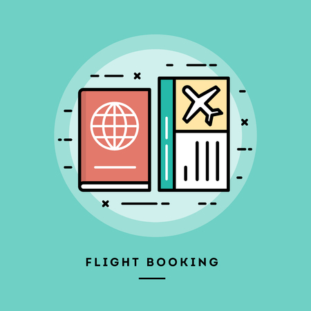 flight booking: Flight booking, flat design thin line banner, usage for e-mail newsletters, web banners, headers, blog posts, print and more
