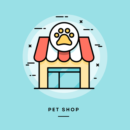premises: Pet shop, flat design thin line banner, usage for e-mail newsletters, web banners, headers, blog posts, print and more