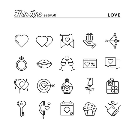 dating and romance: Love, Valentines day, dating, romance and more, thin line icons set, vector illustration