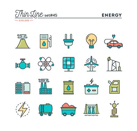 Strom, Energie, Stromproduktion und mehr, dünne Linie farbige Symbole gesetzt, Vektor-Illustration