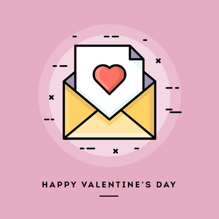 usage: Happy Valentines day, flat design thin line banner, usage for e-mail newsletters, web banners, headers, blog posts, print and more
