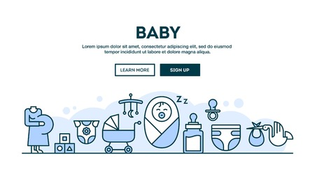 sleeping: Baby, concept header, flat design thin line style, vector illustration