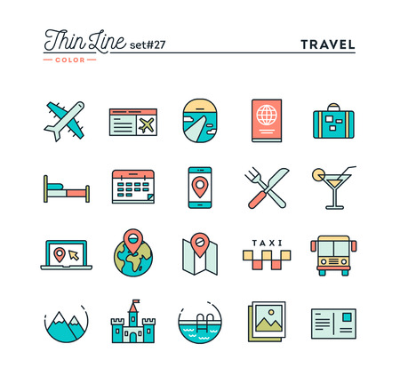 travel destination: Travel, flight, accommodation, destination booking and more, thin line color icons set, vector illustration Illustration