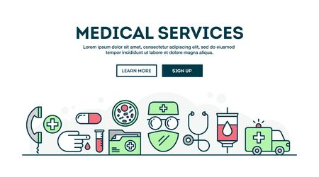 stereoscope: Medical services, colorful concept header, flat design thin line style, vector illustration