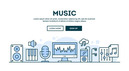 line vector: Music production, concept header, flat design thin line style, vector illustration